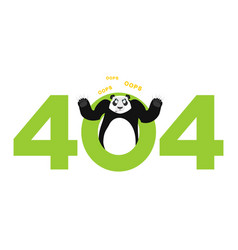 error 404 panda surprise page not found template vector image