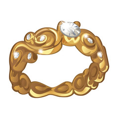exclusive ring made of gold with inlaid diamonds vector image