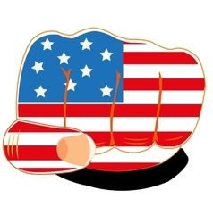 Flag of the america on fist vector image