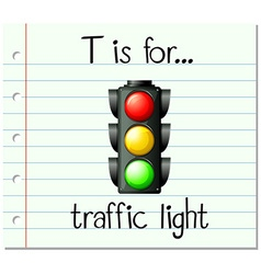 Flashcard letter T is for traffic light vector