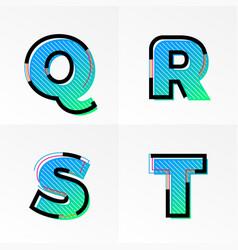 Font alphabet set letters q r s t gradient color vector
