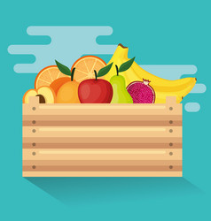 fresh vegetables in wooden basket vector image