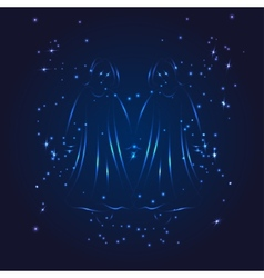 Gemini zodiac whith glitter star vector image