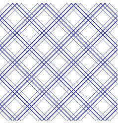 Geometric plaid diagonal line blue and white vector