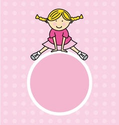 Girl pink frame vector