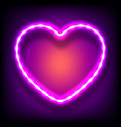 glowing neon frame in shape of heart with light vector image