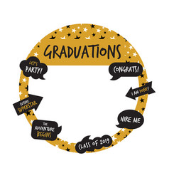 golden party photo booth and graduation elements vector image