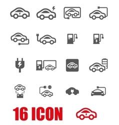 grey electric car icon set vector image