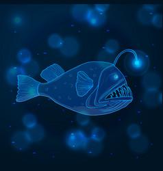 Hand drawn sketch angler fish marine animals vector