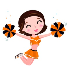 Happy cheerleader vector