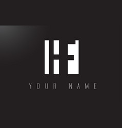 hf letter logo with black and white negative vector image