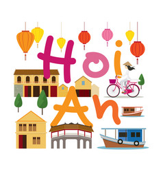 Hoi an vietnam travel and attraction vector