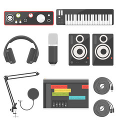 Home recording equipment for music production vector