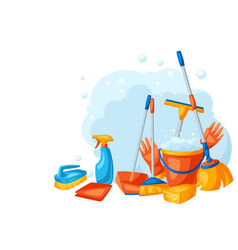 housekeeping background with cleaning items vector image