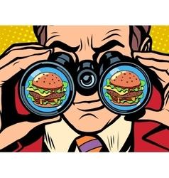 Hungry man wants a Burger vector