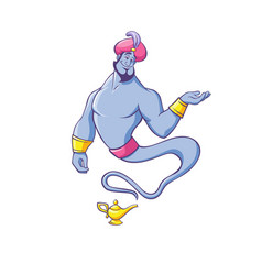 Jinn or genie in turban appearing from golden lamp vector