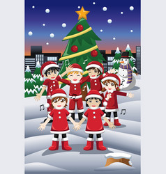 kids singing christmas carols vector image
