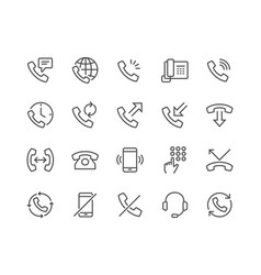 Line phone icons vector
