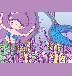 marmaid woman with sea plants leaves vector image