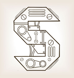mechanical letter s engraving vector image