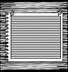Monochrome striped notebook sheet in blank on wood vector