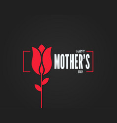 mothers day logo mothers day flower on black vector image