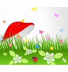 mushroom on glade vector image