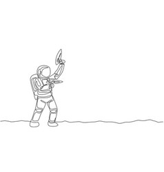one continuous line drawing young astronaut vector image