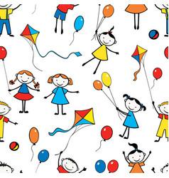 pattern playful funny kids vector image