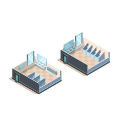 Public toilet isometric washroom for male and vector