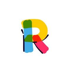 R letter logo handwritten with a multicolor vector