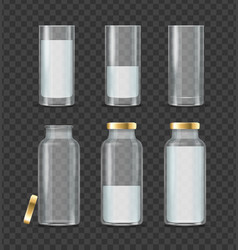 realistic detailed 3d milk bottle and glass set vector image