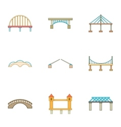 River crossing icons set cartoon style vector