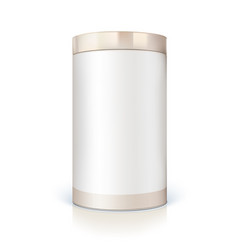 Round tin packaging for bulk products vector