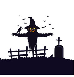 Scarecrow halloween with raven and tomb vector