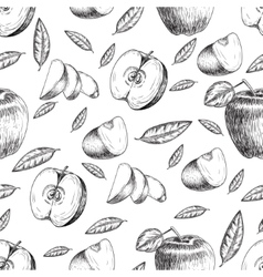 Seamless of hand drawn apple Vintage sketch style vector