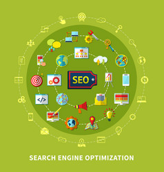 search engine round composition vector image