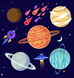 set cartoon planets and space elements vector image