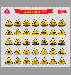 set hazard sign safety vector image