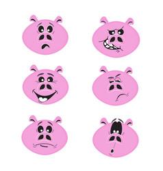 set of cute cartoon emotional pink pig characters vector image