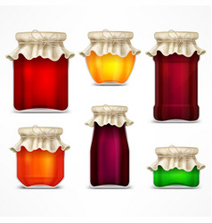 Set of jars with jam and retro vector