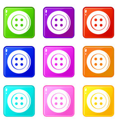 Sewing button set 9 vector