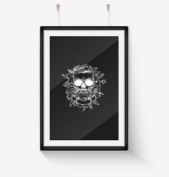 Skull with moustaches and beard vector