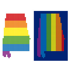 spectrum pixel dotted alabama state map vector image