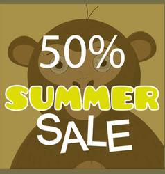 Summer sale poster with monkey vector