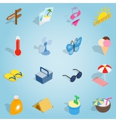 Summer set icons isometric 3d style vector image