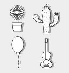 Sunflower cactus balloon and guitar festa junina vector