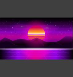 synthwave retrowave sunset background vector image