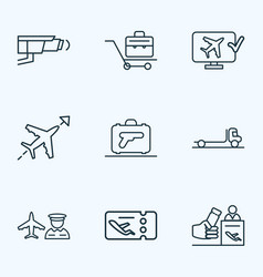 Transportation icons line style set with airport vector