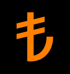 turkiey lira sign orange icon on black background vector image